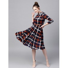 Women Navy Blue Checked Midi Empire Dress
