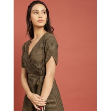 Women Mustard Yellow & Black Woven Legacy A-Line Dress with Tie-Ups