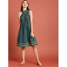 Women Green Bagru Hand Block Print A-Line Dress with Pleats & Pockets