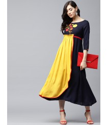 Women Navy Blue & Yellow Colourblocked Maxi Dress