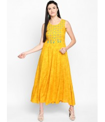 Women Yellow Printed Fit and Flare Dress