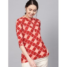 Women Maroon & Peach-Coloured Printed A-Line Kurti