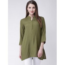 Women Olive Green Solid Straight Kurti