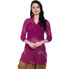 Purple Printed Sheer High-Low Kurti