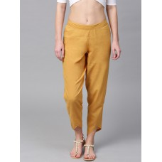 Women Mustard Yellow Regular Fit Solid Cropped Trousers