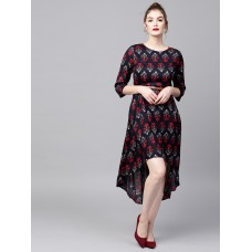 Women Navy Blue & Red Printed Fit & Flare Dress