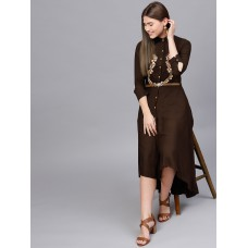 Women Brown Solid Maxi Dress