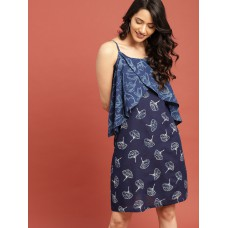 Women Blue Indigo Legacy A-Line Dress with Layered Detailing