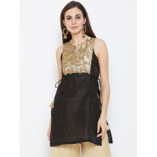 Women Black Woven Design Straight Kurti