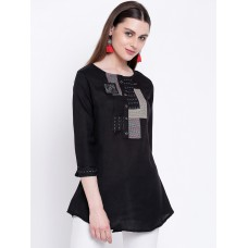 Women Black Solid A-Line Kurti