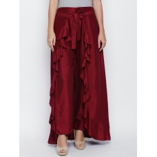 Women Maroon Solid Flared Palazzos
