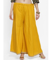 Women Mustard Yellow Printed Flared Palazzos